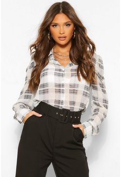 Stone beige Woven Check Puff Sleeve Shirt