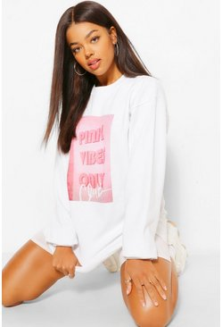 White Pink Vibes Only Club Oversized Sweater