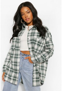 Forest green Oversized Check Shirt