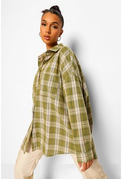 Olive green Oversized Check Shirt