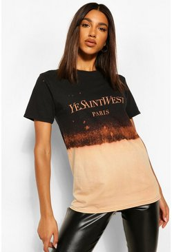 Bleach Dipped Dye Slogan T-Shirt, Black negro