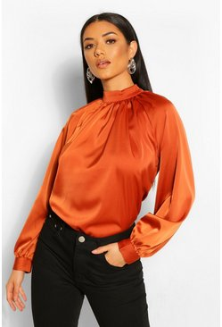 Terracotta orange Woven Gathered High Neck Blouse