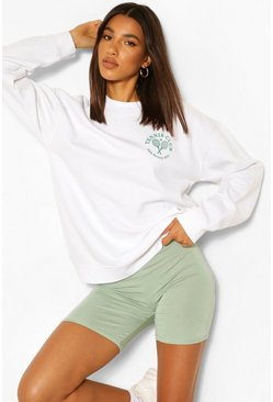 White Pocket Print Tennis Sweatshirt