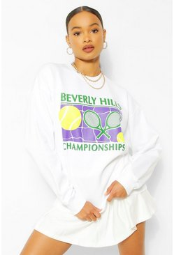 White Beverley Hills Tennis Sweater