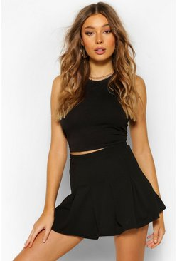 High Waist Tennisrock , Schwarz