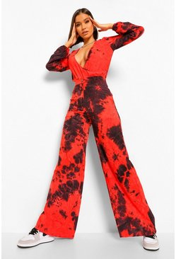 Tie Dye Wide Leg Trousers, Red rouge