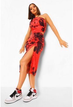Red Tie Dye Ruched Side Midi Skirt