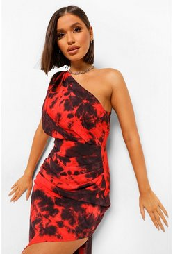 Red Tie Dye One Shoulder Ruched Midi Dress