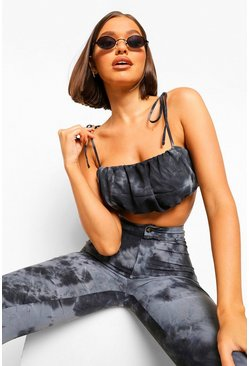 Black Tonal Tie Dye Ruched CropTop
