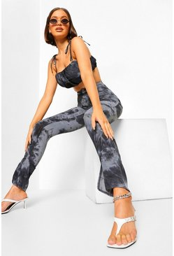 Black Tonal Tie Dye Split Front Trousers