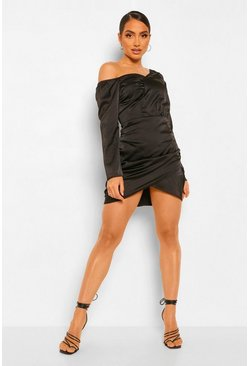 Black Satin One Shoulder Ruched Dress