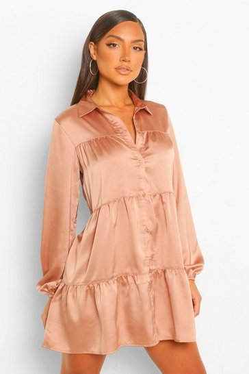 Taupe beige Tonal Tie Dye Tiered Shirt Dress