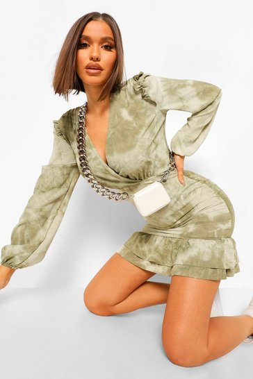 Sage green Tonal Tie Dye Ruched Wrap Front Dress