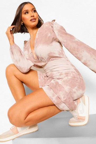 Taupe beige Tonal Tie Dye Ruched Wrap Front Dress