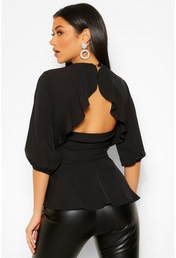Black Geweven Peplum Top Met Open Rug Met Franjes