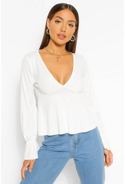 Ivory white Plunge Front Long Sleeve Top
