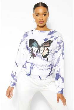 Indigo Tie Dye Butterfly Sweater