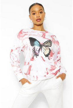 Rose pink Tie Dye Butterfly Sweater