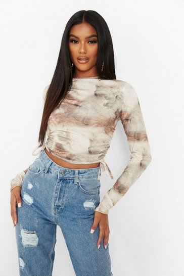Nude Marble Print Ruched Side Long Sleeve Crop