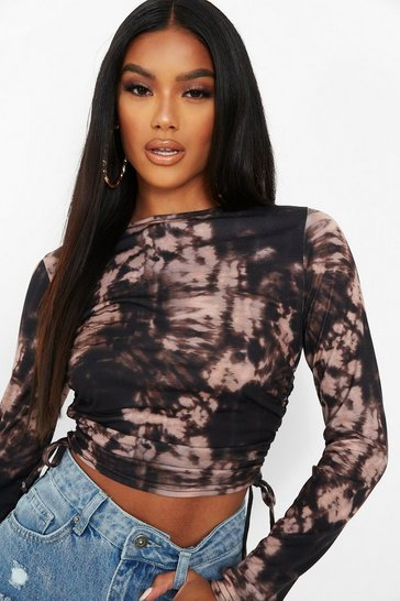 Black Tie Dye Ruched Side Long Sleeve Crop