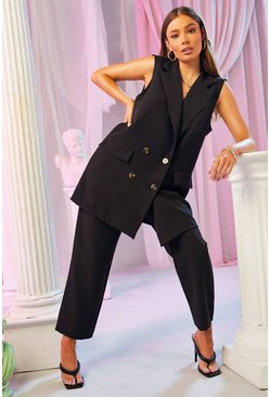 Black Tailored Pleat Detail Trouser