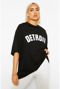 Detroit Applique Oversized T-Shirt, Black noir
