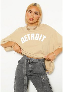 Detroit Applique Oversized T-Shirt, Sand beige