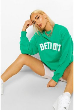 Detroit Appique Oversized Sweat, Green vert