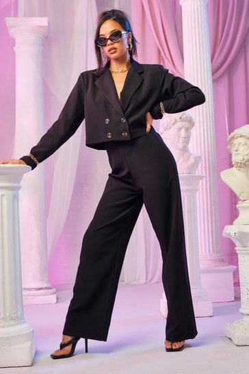 Black Tailored Wide Leg Trouser