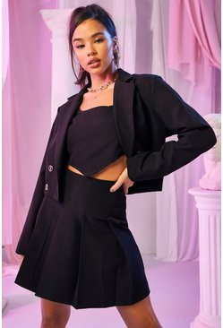 Black Tailored Double Breasted Cropped Blazer