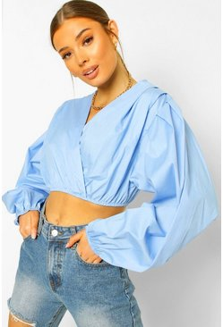 Blue Woven Volume Sleeve Wrap Top