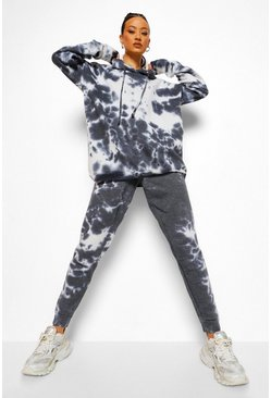 Black Tie Dye Oversized Hoodie And Joggers Set
