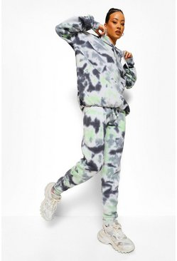 Green Oversized Tie Dye Hoodie En Joggingbroek Set