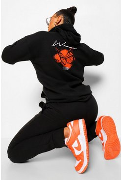 Black Oversized Butterfly Hoodie And Jogger Sert