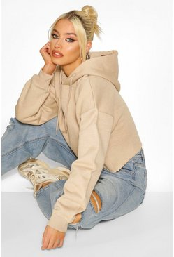 Cropped Oversized Hoodie Sweat , Stone beige