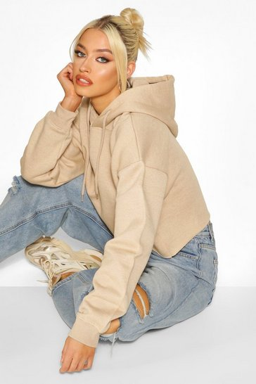 Stone Cropped Oversized Hoodie Sweat