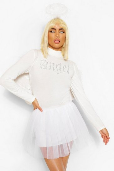 White Halloween Angel Tutu Mini Skirt