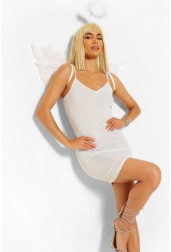 White vit Angel Glitter Bodycon Dress
