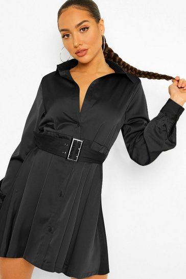 Black Satin Self Belt Pleated Shirt Dress
