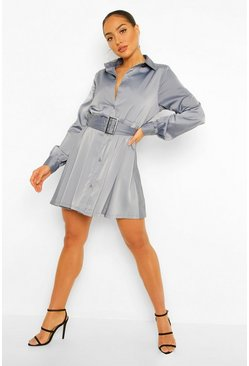Slate grey Satin Self Belt Pleated Shirt Dress