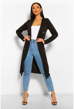 Black Button Detail Collarless Duster