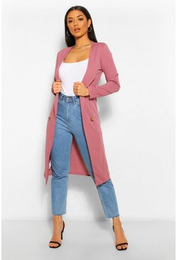 Mauve purple Button Detail Collarless Duster