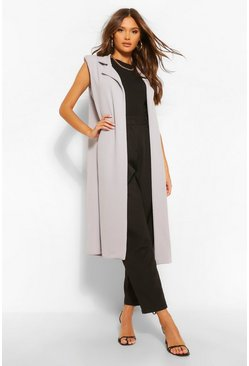 Grey Sleeveless Shoulder Pad Duster