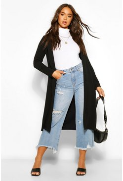 Black Crepe Hook And Eye Detail Duster