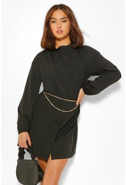 Black Cotton Mix Ruffle Neck Shirt Dress