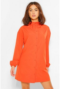 Rust orange Cotton Mix Ruffle Neck Shirt Dress