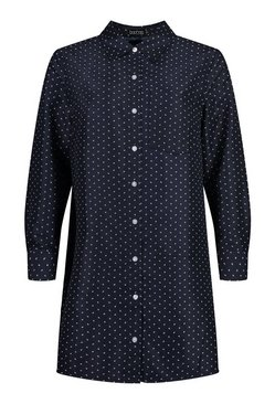 Navy Woven Spot Oversized Shirt Dress