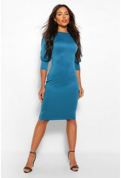Teal green Puff Crop Sleeve Bodycon Midi Dress