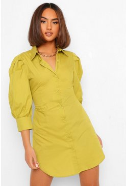 Cotton Poplin Volume Sleeve Shirt Dress, Chartreuse gelb