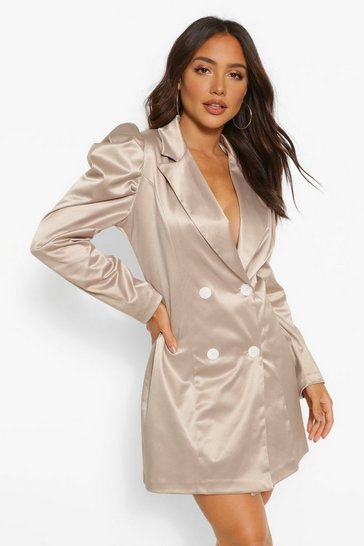 Stone beige Satin Puff Sleeve Button Blazer Dress